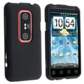 Insten® Rubber Coated Snap-in Case For HTC EVO 3D, Black