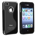 Insten® TPU Rubber Skin Case For Apple iPhone 4/4S, Black S Shape