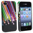 Insten® Rubber Coated Slim Fit Snap-in Case For Apple iPhone 4/4S, Rainbow Star