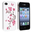 Insten® Rubber Coated Slim Fit Snap-in Case For Apple iPhone 4/4S, White/Peach Blossom Butterfly