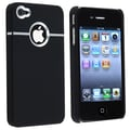 Insten® Rubber Coated Snap-in Case For Apple iPhone 4/4S, Black With Chrome Hole