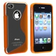 Insten® TPU Rubber Skin Case For Apple iPhone 4/4S, Clear/Frost Orange S Shape