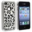 Insten® Hard Plastic Snap-in Case For Apple iPhone 4/4S, Gray Leopard With Diamond Circle