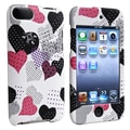 Insten® Rubber Coated Snap-in Case For iPod Touch 2nd/3rd Gen, Pink/Black Heart