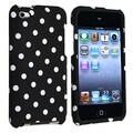 Insten® Hard Plastic Snap-in Case For iPod Touch 4th Gen, Black With White Polka Dots