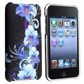 Insten® Rubber Coated Snap-in Case For iPod Touch 2nd/3rd Gen, Blue Flower Rear