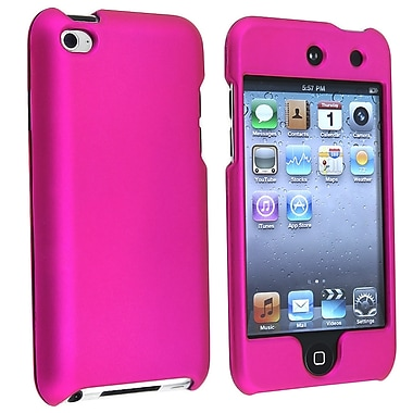 Insten® Rubber Coated Snap-in Case For iPod Touch 4th Gen, Hot Pink