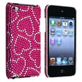 Insten® Hard Plastic Snap-in Case For iPod Touch 4th Gen, Pink With White Heart Bling Rear