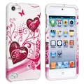 Insten® Hard Plastic Snap-in Case For iPod Touch 5th Gen, White/Pink Heart