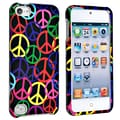 Insten® Hard Plastic Snap-in Case For iPod Touch 5th Gen, Black Rainbow Peace Sign