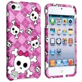 Insten® Rubber Coated Snap-in Case For iPod Touch 5th Gen, Pink With Cute Skull