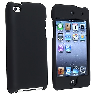 Insten® Rubber Coated Snap-in Case For iPod Touch 4th Gen, Black