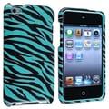 Insten® Hard Plastic Snap-in Case For iPod Touch 4th Gen, Blue/Black Zebra