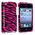 Insten® Hard Plastic Snap-in Case For iPod Touch 4th Gen, Hot Pink/Black Zebra