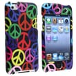 Insten® Hard Plastic Snap-in Case For iPod Touch 4th Gen, Black/Rainbow Peace Signs