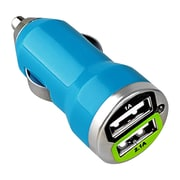 Insten® Dual USB Mini Car Charger Adapter, Blue