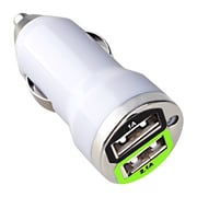 Insten® Dual USB Mini Car Charger Adapter, White