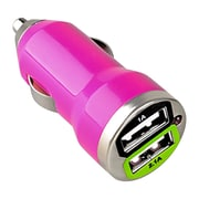 Insten® Dual USB Mini Car Charger Adapter, Hot Pink