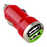 Insten® Dual USB Mini Car Charger Adapter, Red