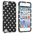 Insten® Hard Plastic Snap-in Case For iPod Touch 5th Gen, Black With White Polka Dots