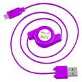 Insten® 4in. Micro USB 2.0 A/B 2-in-1 Retractable Cable, Purple