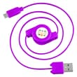 Insten® 4in. Micro USB 2.0 A/B 2-in-1 Retractable Cable, Purple