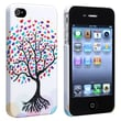 Insten® Rubber Coated Snap-in Case For Apple iPhone 4/4S, White/Love Tree With Hearts