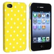 Insten® Rubber Coated Snap-in Case For Apple iPhone 4/4S, Yellow With White Dot