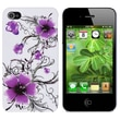 Insten® Hard Plastic Snap-in Case For Apple iPhone 4/4S, Purple Flower