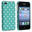 Insten® Rubber Coated Snap-in Case For Apple iPhone 4/4S, Blue-Green With White Dot