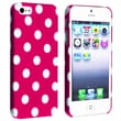 Insten® Hard Plastic Snap-in Case For Apple iPhone 5/5S, Hot Pink With White Dot