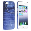 Insten® Rubber Coated Snap-in Case For Apple iPhone 5/5S, Blue Jean Rear
