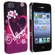 Insten® Rubber Coated Snap-in Case For Apple iPhone 4/4S, Dark Purple Heart With Flower