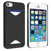 Insten® Hard Plastic Snap-in Case With Card Holder For Apple iPhone 5/5S, Black