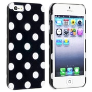 Insten® Hard Plastic Snap-in Case For Apple iPhone 5/5S, Black With White Dot