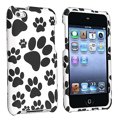 Insten® Rubber Coated Snap-in Case For iPod Touch 4th Gen, Black/White Paw