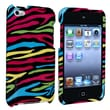 Insten® Hard Plastic Snap-in Case For iPod Touch 4th Gen, Black/Colorful Zebra