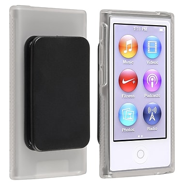 Insten® TPU Rubber Skin Case With Belt Clip For iPod nano 7th Gen, Clear