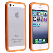 Insten® TPU Rubber Bumper Case With Aluminum Button For Apple iPhone 5/5S, Clear/Orange