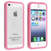 Insten® TPU Rubber Bumper Case With Aluminum Button For Apple iPhone 5/5S, Clear/Hot Pink