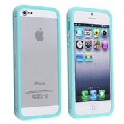 Insten® TPU Rubber Bumper Case With Aluminum Button For Apple iPhone 5/5S, Clear/Sky Blue