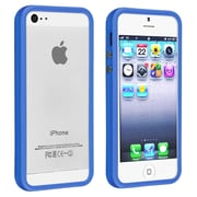 Insten® TPU Rubber Bumper Case With Aluminum Button For Apple iPhone 5/5S, Dark Blue