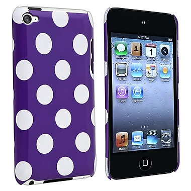Insten® Rubber Coated Snap-in Case For iPod Touch 4th Gen, Purple With White Dot Rear