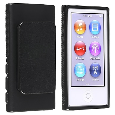 Insten® TPU Rubber Skin Case With Belt Clip For iPod nano 7th Gen, Black
