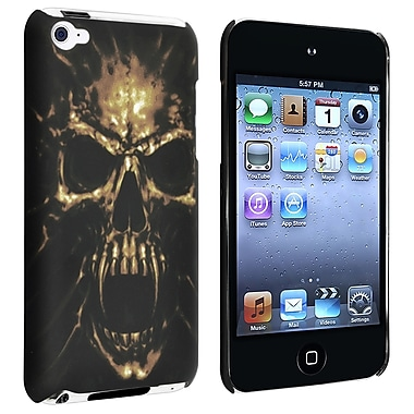 Insten® Rubber Coated Snap-in Case For iPod Touch 4th Gen, Black Skull