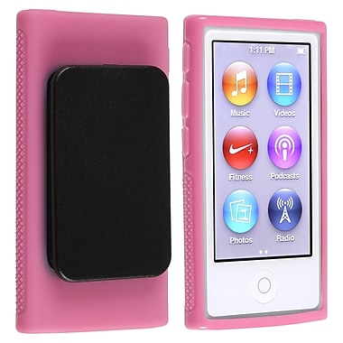 Insten® TPU Rubber Skin Case With Belt Clip For iPod nano 7th Gen, Hot Pink