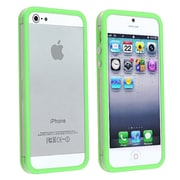 Insten® TPU Rubber Bumper Case With Aluminum Button For Apple iPhone 5/5S, Clear/Green