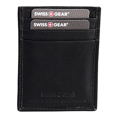 Swiss Gear Card Case Wallet with Back Money Clip and RFID Protection, Black