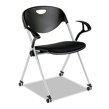 Alera® Plus™ SL Series Nesting Stack Chair With Loop Arms & Casters, Black