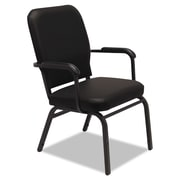 Alera® Oversize Vinyl Stack Chair With Fixed Padded Arms, Black